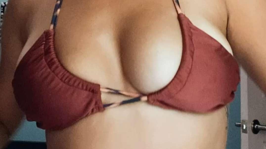 Pierced nipples titty reveal in a bikini