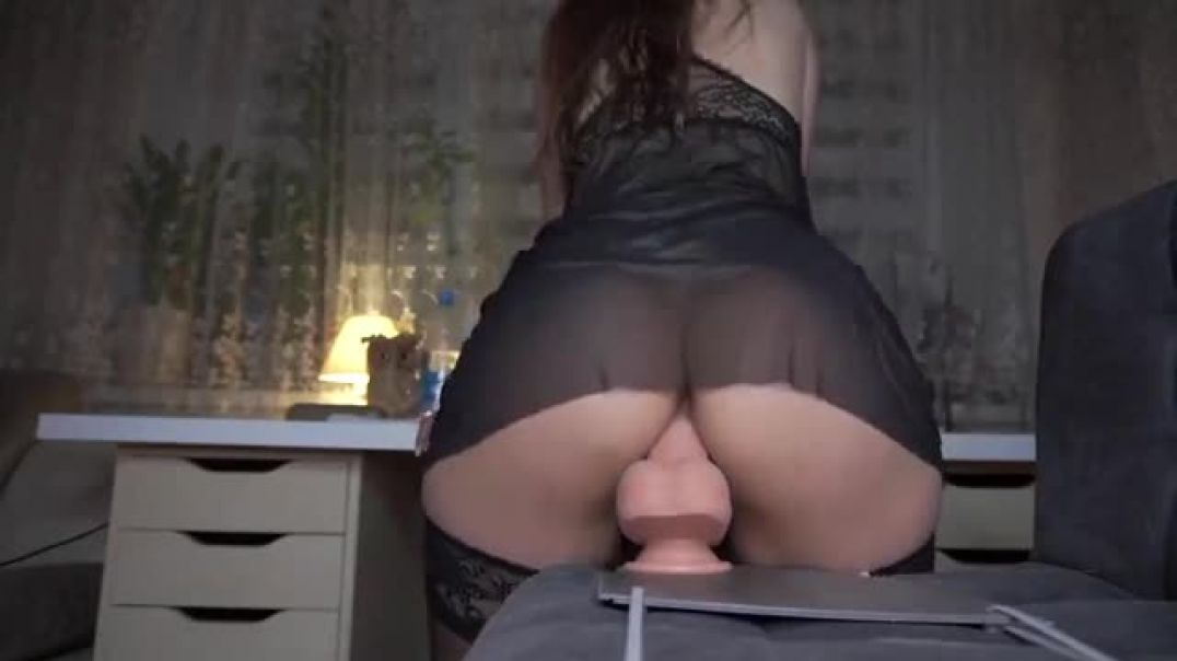 Her pussy slides deep and long