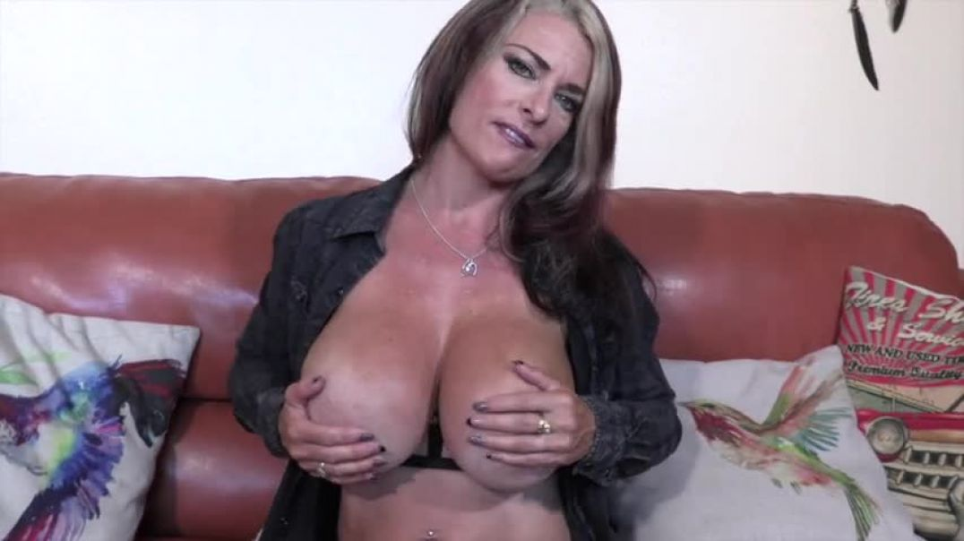 Hot busty blonde slut plays with her boobs