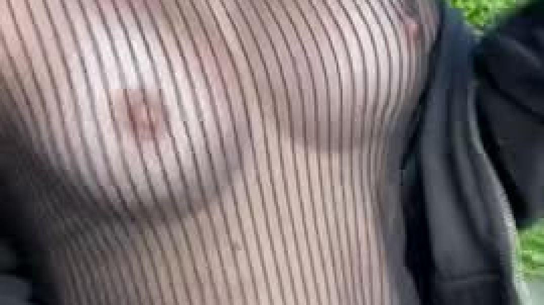 Flashing tits in public seethru too
